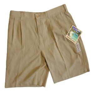 Jamaica Jaxx 100% Silk Khaki Pleated Shorts | 32 M